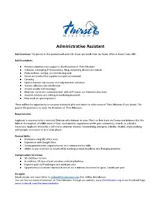 Job Description Administrative Assistant Thirst Missions