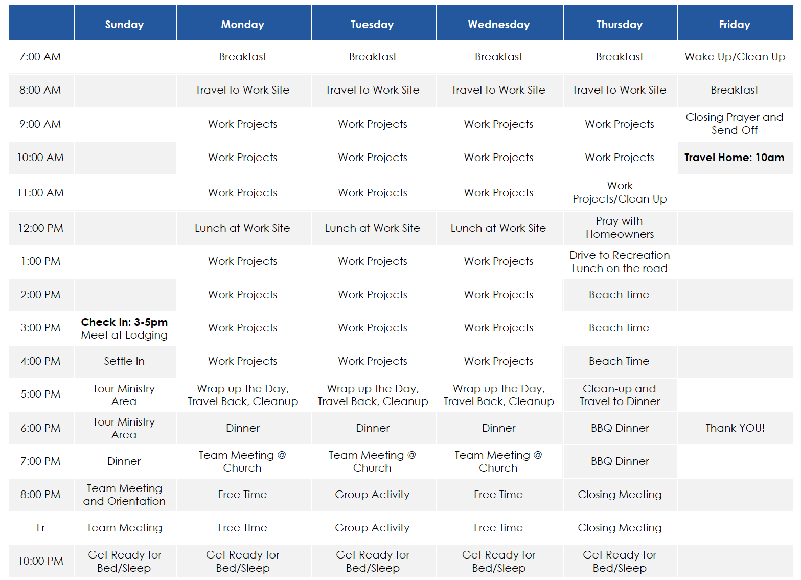 tx itinerary